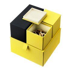 PALLRA Kannellinen laatikko, 4 kpl IKEA Pitää korut, meikit ja hiuspinnit järjestyksessä.
