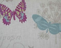 Bed #3-French Butterfly Script Linen Curtain Fabric Mauve Teal Lime on White