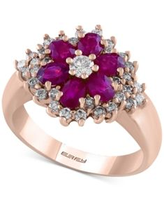 Effy Final Call Ruby (1-3/8 ct. t.w.) and Diamond (5/8 ct. t.w.) Flower Ring in 14k Rose Gold - Red