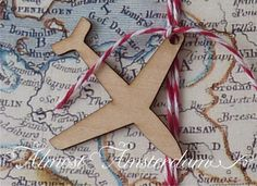 Wooden Airplane (aeroplane) Charms for Boarding Pass or Passport invitations and Paper Crafts - Pack of 10. €4.70, via Etsy.