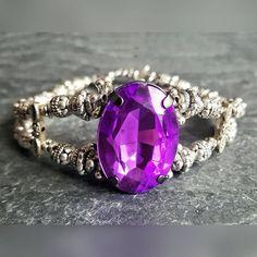 Cocktail Bracelet - Victorian Jewelry - Ren Faire - Bridesmaid Jewelry - Fantasy Jewelry - Purple Bracelet - Goth Jewelry - Girlfriend Gift
