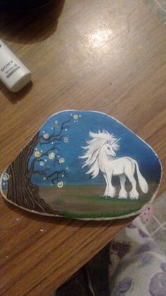 Unicorn fantasy painted on stone!