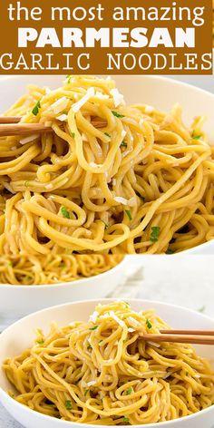 Parmesan Noodles, Garlic Noodles Recipe, Garlic Parmesan, Ramen Recipes, Cooking Recipes, Easy Noodle Recipes, Pasta Recipes, Side Dish Recipes, Recipes