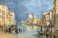 The Grand Canal Venice, with Gondolas and Figures in the Foreground by Joseph Mallord William Turner. Massive range of art prints. Joseph Mallord William Turner, Wall Art Prints, Fine Art Prints, Poster Prints, Turner Watercolors, Will Turner, Romanticism Artists, Grand Canal Venice, Turner Painting