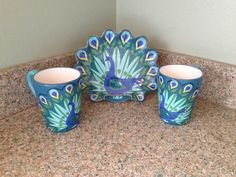 Love my new Peacock Mugs and Plate!
