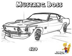 '69 Mustang Boss 429 #Muscle_Car You Can Print Out This Muscle Car  #Coloring_Page Now… http://www.yescoloring.com/images/mustang-boss-muscle_car_coloring_at_yescoloring.gif