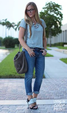 Lazy Days {boyfriend jeans + t-shirt}  I love everything except the shoes. I think some cute oxfords would look really great with it, though.