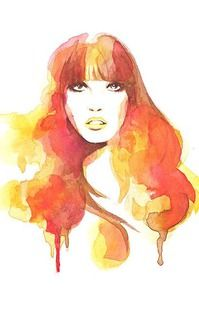 Orange mod girl water colour A4, also available A3 $25