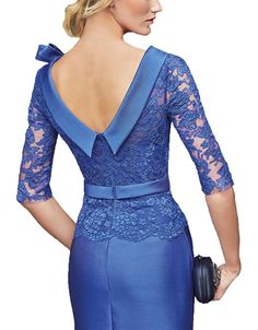 Ankang Women's Formal Lace Prom Short Mother of the Bride Dress with Sleeves Royal Blue at A African Fashion Dresses, Fashion Outfits, Formal Dresses With Sleeves, Dress Formal, Fashion Magazin, Classy Dress, Dress Patterns, Designer Dresses, Lace Dress