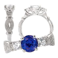 18k Chatham created 6.5mm round blue sapphire 3-stone engagement ring