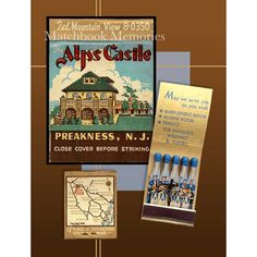Vintage Alps Castle Matchbook Print - Preakness New Jersey includes a Band