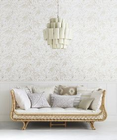Neutral & natural | Avalon Daybed & Palm Wallpaper via Serena & Lily