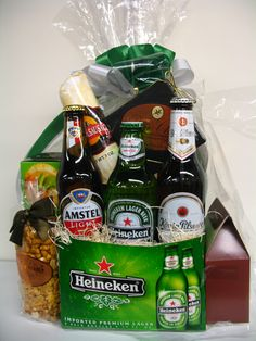 Gift Basket Idea (cellophane and ribbon make anything look David & Harry-esk lol)