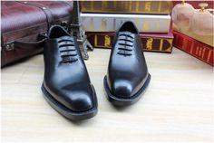 Handmade leather soled dress shoes for men black mens oxford tuxedo shoes  wedding flats shoes eca5c3df976a