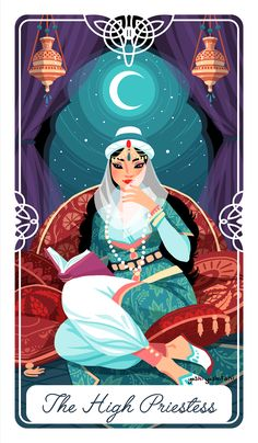 "Poster+size++12""+x++16""  The+High+Priestess+for+The+Fairytale+Tarot+deck.+ This+is+Scheherazade+from+1001+Nights,+she+knows+all+the+secret+stories"