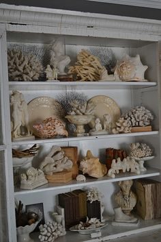 White wood, sun bleached coral, ceramic, shell, paper, sea fans. If this wall were in my home, I would just sit and smile at it.