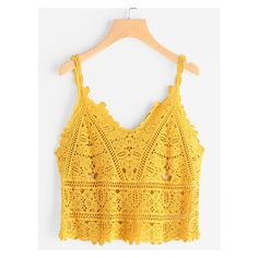 Hollow Out Crochet Cami Top ($10) ❤ liked on Polyvore featuring tops, camisole tank, yellow cami, yellow cami top, crochet cami and camisole tops