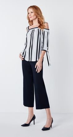 A versatile top you'll find any excuse to wear, you'll love the way this top flows to create a flattering shape all while keeping you comfortable! Perfect for a nig Striped Off Shoulder Top, Off Shoulder Tops, Knot, Stripes, Detail, How To Wear, Fashion, Knots, Moda