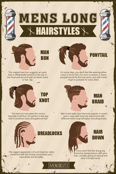Mens Long Hairstyles Guide: The Complete Version Mens long hairstyles guide with the most comprehensive information. Learn how to create the best knotted, braided or loose long hairstyles for men. Man Bun Hairstyles, Loose Hairstyles, Long Hairstyles For Men, School Hairstyles, Hair And Beard Styles, Curly Hair Styles, Mens Long Hair Styles, Man Ponytail, Curly Hair Men