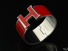 Hermes Red Enamel Clic H Bracelet Narrow Width (33mm) In Silver