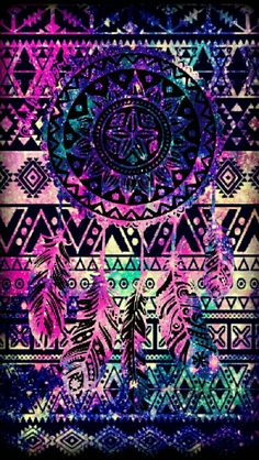 Tribal dreamcatcher galaxy iPhone/Android wallpaper I created for the app CocoPPa.