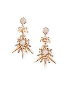 J01ZR Kendra Scott Isadora Crystal Statement Earrings, Ivory/Pink