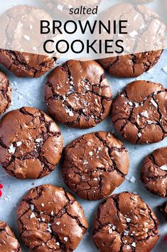 The BEST salted brownie cookies! With shiny, crackled tops and rich, fudgy centers, these are the ultimate brownie cookies for chocolate lovers. Cake Mix Cookie Recipes, Sugar Cookies Recipe, Yummy Cookies, Brownie Recipes, Santa Cookies, Big Cookie Recipe, Home Made Cookies Recipe, Baking Cookies, Almond Cookies