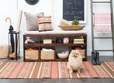 Entryway Ideas - storage bench, umbrella stand, leading ladder for scarves, etc