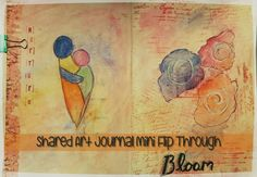 BLOG - Art Journal Mini Flip Through Post ART JOURNAL MINI FLIP THROUGH - The journal uses a variety of art techniques such as stamps, Tim Holtz ink pads distressing pages, watercolour, use of salt, acrylic paint and collage. Kerrymay._.Makes