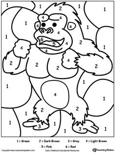 **FREE** Color By Number Gorilla Worksheet. Printable color by number coloring pages. Perfect for preschoolers to help them develop eye-hand coordination, practice their colors and learn to follow directions. #MyTeachingStation