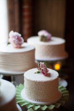 tiny cake with beaded piping