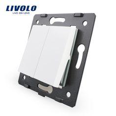 Miễn phí Vận Chuyển, livolo trắng vật liệu nhựa, Tiêu Chuẩn EU, 2 Gang1 Cách Function Key Đối Với Tường Push Button Switch, VL-C7-K2-11