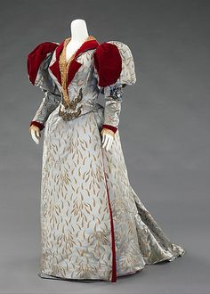 Evening Dress: Long Sleeve Bodice, House of Worth 1893, French, Made of silk and linen
