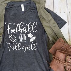 Football and Fall Yall Tee Vinyl Tee Shirt Flowy Tank Slouchy Tee Fall T-Sh Vinyl Shirts, Mom Shirts, Cute Shirts, Pretty Shirts, T Shirt Designs, Vinyl Designs, Sports Shirts, Football Shirts, Shilouette Cameo