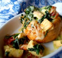 {chicken, pancetta + spinach-stuffed jacket potatoes} this looks like a lovely + comforting winter dinner! i just looove that the english call baked potatoes 'jacket potatoes.'