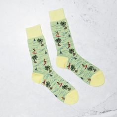 Fancy - Japanese Crafted Yellow Surfer Socks by Men In Cities  $25 USD