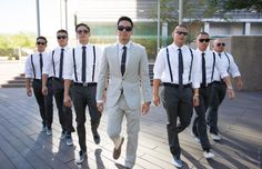 Groom and groomsmen photo   Love how we styled them. Suspenders slim pants and vans. Groom is in jcrew