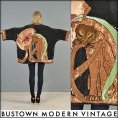vtg ART DECO SEQUIN bead PANTHER cat leopard drape SILK kimono dress jacket coat | eBay