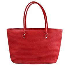 Red Long Handle Straw Beach Tote Bag ($25) ❤ liked on Polyvore featuring bags, handbags, tote bags, purses, fashion bags, red, totes, beach tote, handbag tote and purse tote