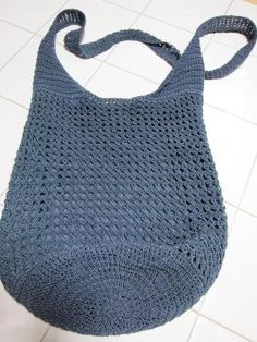 PURSE – TEAL BLUE CROCHETED w MACREMAE CORD – HOBO BAG STYLE – FREE SHIP