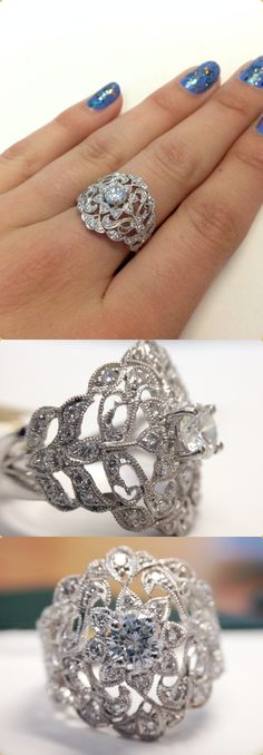 Extremely unique and intricately designed vintage filigree diamond engagement ring with stunning craftsmanship!!  Truly one of a kind ring