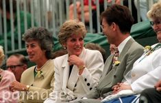 1991 Nottingham: The Princess of Wales (centre) with Virginia Wade and pop star Cliff Richard at the opening ceremony of the 1991 Federation Cup.