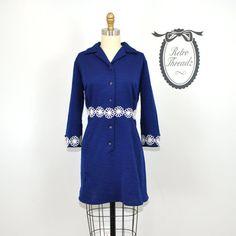 SALE Mod Dress Vintage 60s Navy Blue Mod Mini Scooter Dress / Large / Extra Large