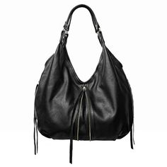 "Jacki Easlick black leather hobo bag.    Beautiful craftsmanship and created from high end cow hide. Soft, slouchy, and roomy. Also available in Cognac.  Measurements: 25-1/2"" height x 19"" width x 3"" depth with 14"" strap drop.m  Made in Manhattan.  $495"