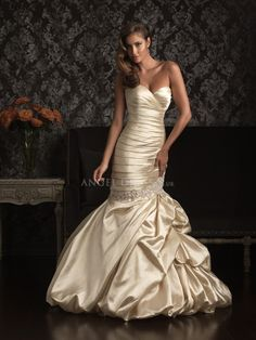 Mermaid Satin Floor Length With Pick ups Sweetheart Dramatic Wedding Dress