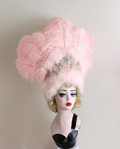 Light Pink Ostrich Feather Showgirl Headdress, Las Vegas, Burlesque Dancer Costume, Pin Up Fashion, Rio Carnival, Madi Gras Headpiece This showgirl headdress is super high quality and full and amazing. It has a buckram and wire base that has been carefully covered in satin fabric and Vegas Showgirl, Feather Headpiece, Rio Carnival, Light Images, Ostrich Feathers, Everything Pink, Pin Up Style, Showgirls, Burlesque