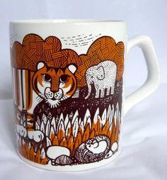 Vintage 1970s Staffordshire Potteries Tiger Mug