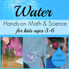 Water Math & Science Activities for kids ages 3-6 by The Measured Mom. Sinking/floating, absorbing, dissolving, water balloons, water beads - whoa, this is quite a list. My favorite among the activities is the lesson in comparing volume.