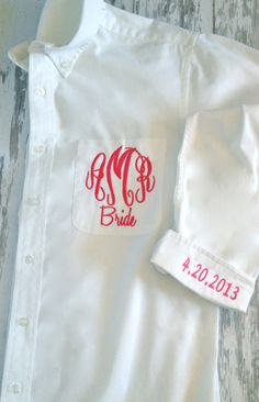 Monogrammed Oversized Mens Shirts for Bridal Parties and College Co-eds with added cuff monogram via Etsy