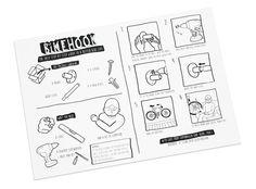 Scandinavian Bikehook - Bike storage made in Copenhagen Denmark. Graphic Instruction manual made by illustrator Signe Beck